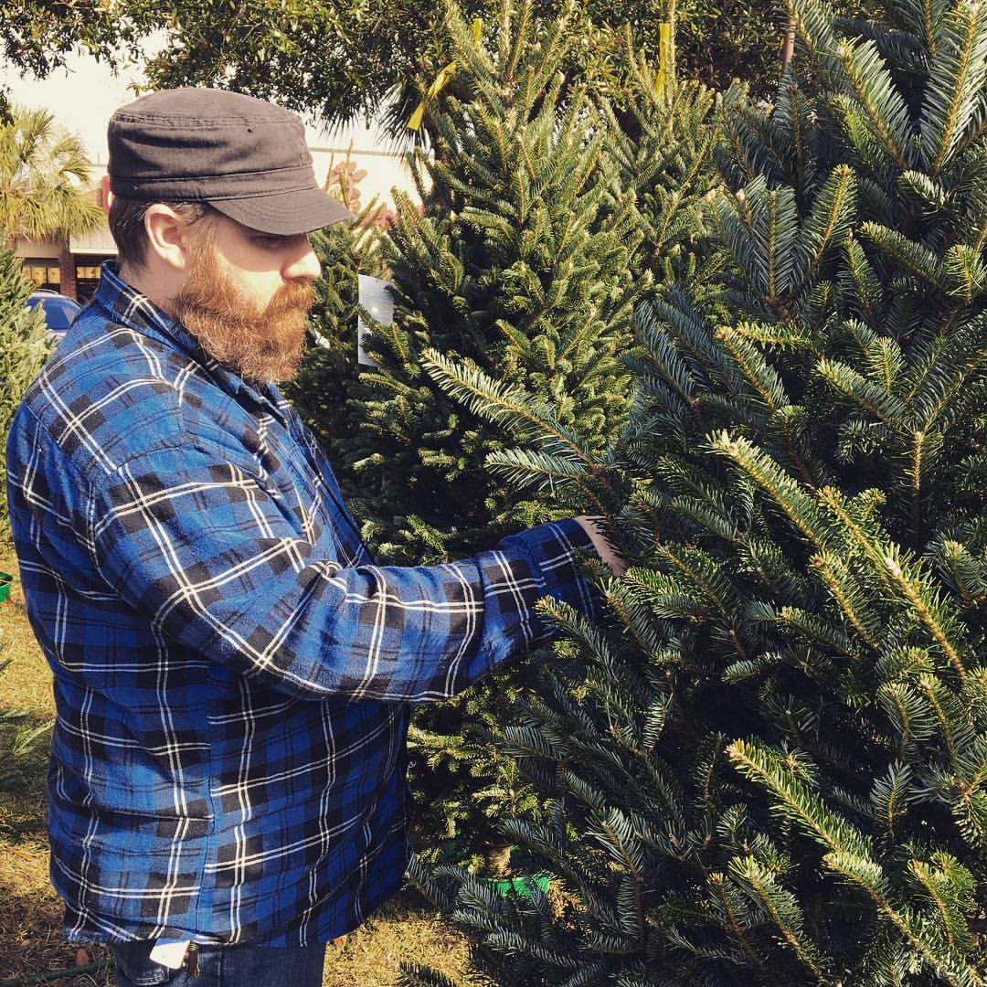 Picking out a Christmas tree.